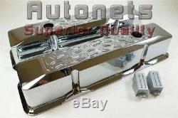 Small Block Chevy SBC Chrome Aluminum Valve Cover Recessed Tall Flame 400 350327