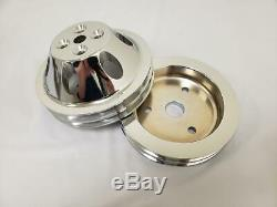 Small Block Chevy SWP Chrome 2 Double Groove Water Pump Crankshaft Pulley Kit
