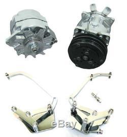Small Block Chevy Short Water Pump V-Belt Compressor Alternator & Chrome Bracket