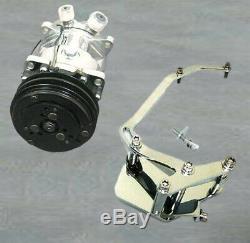 Small Block Chevy Short Water Pump V-Belt Compressor & Chrome AC Bracket
