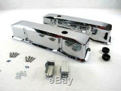 Small Block Chevy Tall Smooth Aluminum Valve Covers Retro Chrome BPE-2013C