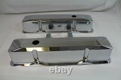 Small Block Chevy Tall Valve Covers Ball Milled chrome 283/350