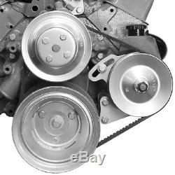 Small Block Chevy with LWP Chrome Saginaw Power Steering Pump + Bracket SBC