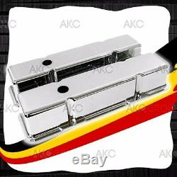 Smooth Chrome Aluminum Tall Valve Covers For 58-86 Chevy Sb 283 305 327 350