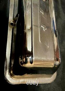 Vintage Chevrolet Script Chrome Valve Covers 283 327 Chevy Straight Bolt Holes