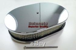 12 Ovale Lisse Ordinaire En Aluminium Chromé Filtre À Air Filtre Chevy Ford Sbc Bbc Gm