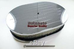 12 Ovale Rainurée Avec Chrome Aluminium Cleaner Air Reniflard Chevy Ford Sbc Bbc Gm