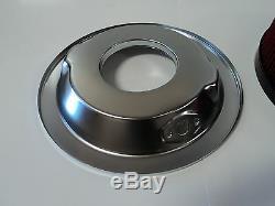 14 X 4 Chrome Rond Noir Lavable Air Cleaner Ford Chevy Chute De Tension Base Sbc 350