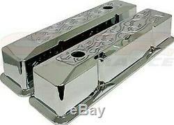 1958-1986 Chevy Petit Bloc Haut Covers Valve Encastré En Aluminium Chrome Flammé