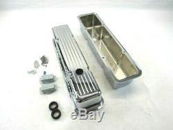 1958-1986 Sbc Chevy En Aluminium Rainurée Avec Culbuteurs Grand Chrome Bpe-2001c