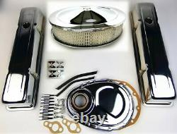 1958-79 Sbc Chevy 350 Chrome Engine Dress Up Kit Tall Valve Covers Air Cleaner