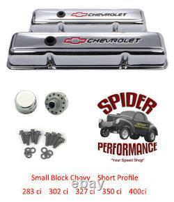 1959-1964 Impala Belair Biscayne Petit Bloc Bowtie Chrome Kit De Couvercle De Soupape Court