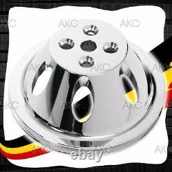 1 Thermopompe D'eau En Aluminium Finition Chrome Groove Pour La Pompe À Eau Courte Chevy Sb