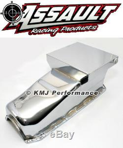 58-79 Sbc Chevy Chrome Drag Race Style Huile Pan 7qt 283 327 350 400 Small Block
