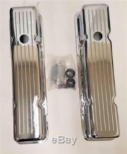 58-86 Small Block Chevy Chrome Aluminium Rainurée Avec Culbuteurs Grand 327 350