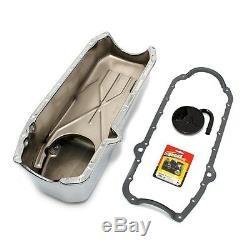 80-85 Small Block Chevy Sbc 350 Oil Pan Fini Chrome / Std. Joint Pick-up Goujons