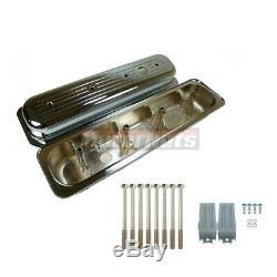 87-97 Petit Bloc Chevy Sbc Centerbolt Chrome Couvercle De Valve En Aluminium Ball MILL