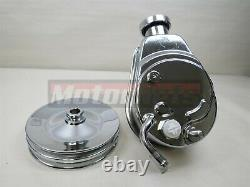 Bbc Sbc Chevy Chrome Saginaw Tear Drop Power Steering Pump 2 Double Groove Hot Rod