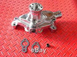 Chevy Chevrolet Sbc Chrome Longue Pompe À Eau Volume Élevé 350 400 Small Block