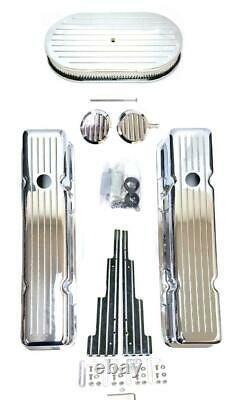 Chevy Chrome En Aluminium Fraisé Couvercles De Vanne + 15 Air Cleaner Fils Looms Pcv Sbc