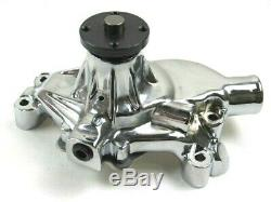 Chevy Sbc 327 350 Alum. Court Rotation Arrière Pompe À Eau Chrome Bpk-1036c