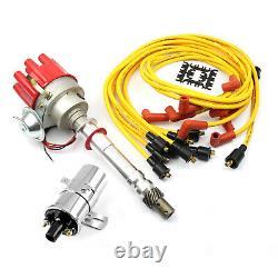 Chevy Sbc 350 Bbc 454 Distributeur (vacuum) Rouge + Chrome Bobine + Accel Fil Plombs