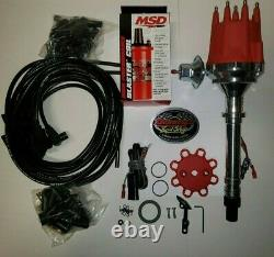Chevy Sbc Bbc Ready To Run Distributeur, Msd Chrome Coil & Blalk 90 Plug Wire