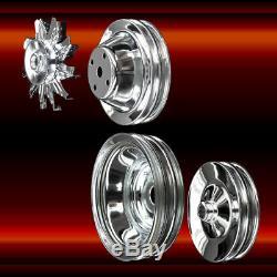 Chrome 4 Jeu De Poulies Pour Petit Bloc Chevy Long Wp 350 383 400 A / C Appuyez Sur Ps