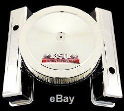 Chrome Couvre Valve Haut Et Rouge 350 Emblem Air Cleaner Combo Pour Chevy350 Sbc