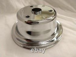 Chrome Small Block Chevy 1 Groove Long Water Pump Crank Ps Pulley Set Sbc Lwp