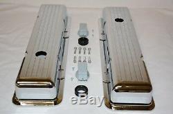 Couvercles De Soupape Courts Fraisés En Aluminium Chromé 1958-86 Chevy 283 305 327 350 Sbc