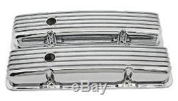 Couvertures En Aluminium De Valve De Chrome À Ailettes Courtes Complètes Pour Chevy Sb 283 305 327 350