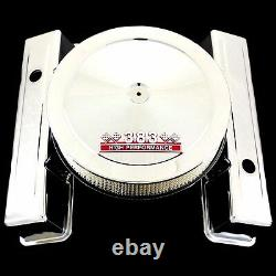 Couvre-vanne Chrome Tall Et 383 Emblem Air Cleaner S'adapte Sb Chevy Stroker Engine