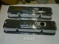 Deux Anciennes Housses De Valve De Chrome Moroso Pour Petit Bloc Chevy