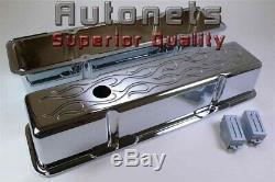 Flamme Aluminium Chrome Sb Chevy Valve Cover 305 327 350 383 400 Petit Bloc Haut