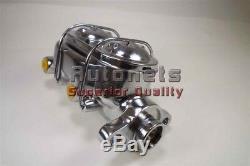 Maitre Cylindre De Frein En Aluminium Chrome Gm Chevy 1-1 / 8c Alésage Bouchon Double Sbc Bbc