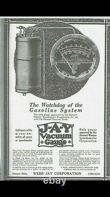 Nos 20s Stewart Webbjay Vacuum Tank Us Gauge Brass Era Speedster Race Car Trog