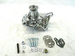 Petit Bloc Chevy 350 En Aluminium Longue Pompe À Eau En Chrome Bpk-1003c