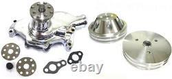 Petit Bloc Chevy Chrome Short Water Pump + 2 / 2 Groove Crankshaft Pulley Kit