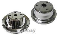 Petit Bloc Chevy Lwp 1 Groove Chrome Steel Water Pump Crankshaft Pulley Kit Sbc