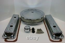 Sb Chevy Center Bolt Chrome Engine Dress Up Kit Valve Covers Air Cleaner Sbc 350