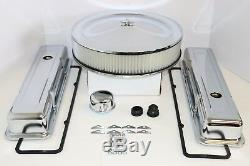 Sb Chevy Chrome Dress Up Kit Moteur Court Culbuteurs Filtre À Air 58-79 Sbc 350