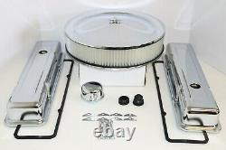 Sb Chevy Chrome Engine Dress Up Kit Short Valve Covers Air Cleaner 58-79 Sbc 350