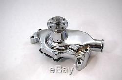 Sb Chevy Chrome Pompe À Eau Style Court Sbc 283 327 350 V8 En Aluminium Haute Volume