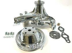 Sb Chevy Long Pompe À Eau Sbc 283 327 350 383 400 Kit Chrome + Poulie Haut