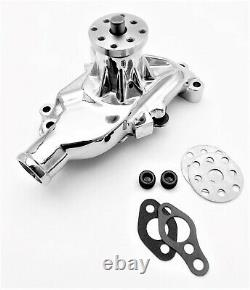 Sb Chevy Pompe À Eau Court Sbc 283 327 350 383 400 V8 Haut Volume Chrome Aluminium