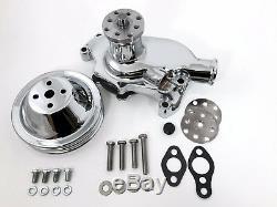 Sb Chevy Pompe À Eau Courte Sbc 305 327 350 383 400 V8 Poulie Kit 2 Grooves Chrome