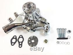 Sb Chevy Pompe À Eau Longue De Style Sbc 283 327 350 383 400 Sbc Long En Aluminium Chrome