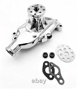 Sb Chevy Sbc 283 327 350 Pompe À Eau En Aluminium De Haut Volume De Style Court Chrome