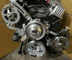 Sb Chevy Sbc Chrome Acier Long Pompe À Eau Poulie Kit Avec Des Supports 327 350 400 V8